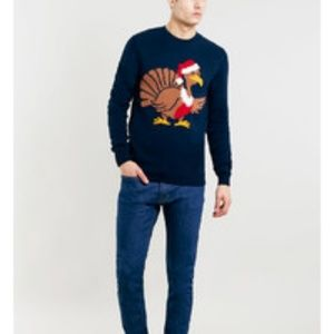 Topman Navy Christmas Turkey Sweater Size L